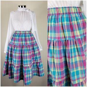 Vintage rainbow plaid skirt